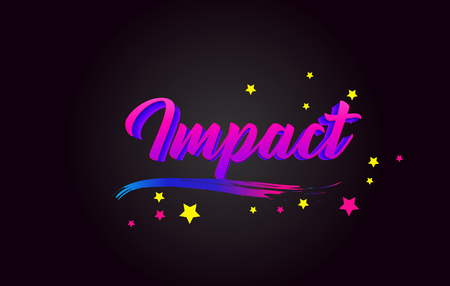 Impact Purple Handwritten lettering typography. Creative Word for logotype, badge, icon, card, postcard, logo, banner with colorful Stars and Swoosh Vector Illustration Design. Stock Illustratie