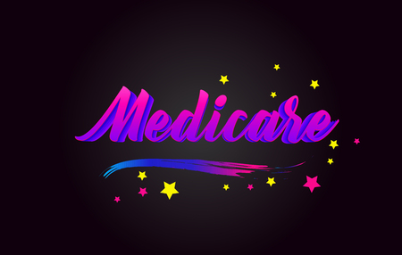 Medicare Purple Handwritten lettering typography. Creative Word for logotype, badge, icon, card, postcard, logo, banner with colorful Stars and Swoosh Vector Illustration Design.