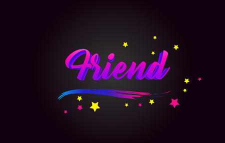 Friend Purple Handwritten lettering typography. Creative Word for logotype, badge, icon, card, postcard, logo, banner with colorful Stars and Swoosh Vector Illustration Design.