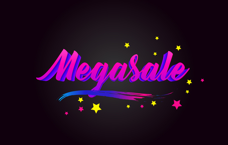 Megasale  Purple Handwritten lettering typography. Creative Word for logotype, badge, icon, card, postcard, logo, banner with colorful Stars and Swoosh Vector Illustration Design.