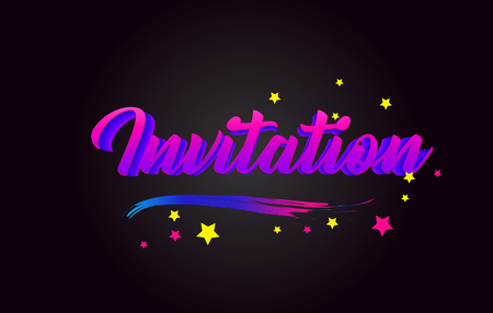 Invitation Purple Handwritten lettering typography. Creative Word for logotype, badge, icon, card, postcard, logo, banner with colorful Stars and Swoosh Vector Illustration Design.