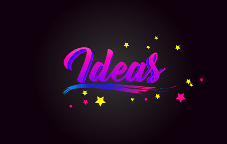 Ideas Purple Handwritten lettering typography. Creative Word for logotype, badge, icon, card, postcard, logo, banner with colorful Stars and Swoosh Vector Illustration Design. Stock Illustratie