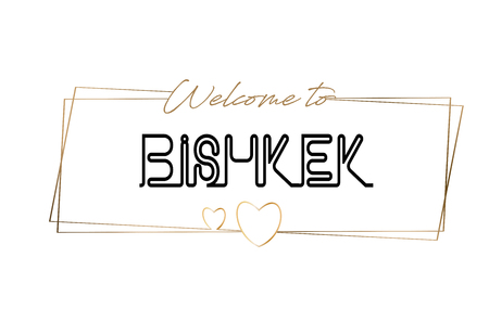 Bishkek Welcome to text Neon lettering typography. Word for logotype, badge, icon, card, postcard, logo, banner with Wired Golden Frames and Hearts Design Vector Illustration. 矢量图像