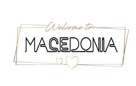 Macedonia Welcome to text Neon lettering typography. Word for logotype, badge, icon, card, postcard, logo, banner with Wired Golden Frames and Hearts Design Vector Illustration. Illustration
