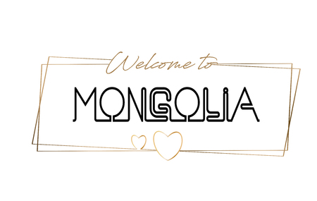 Mongolia Welcome to text Neon lettering typography. Word for logotype, badge, icon, card, postcard, logo, banner with Wired Golden Frames and Hearts Design Vector Illustration.