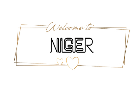 Niger Welcome to text Neon lettering typography. Word for logotype, badge, icon, card, postcard, logo, banner with Wired Golden Frames and Hearts Design Vector Illustration.