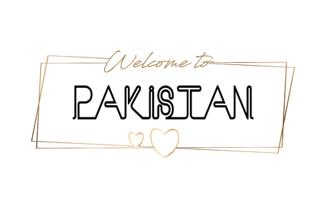 Pakistan Welcome to text Neon lettering typography. Word for logotype, badge, icon, card, postcard, logo, banner with Wired Golden Frames and Hearts Design Vector Illustration.