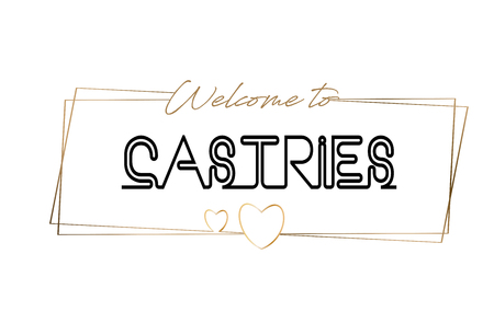 Castries Welcome to text Neon lettering typography. Word for logotype, badge, icon, card, postcard, logo, banner with Wired Golden Frames and Hearts Design Vector Illustration.