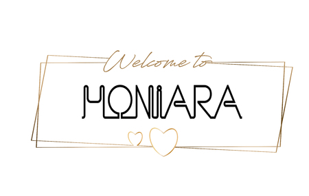 Honiara Welcome to text Neon lettering typography. Word for logotype, badge, icon, card, postcard, logo, banner with Wired Golden Frames and Hearts Design Vector Illustration. Illustration