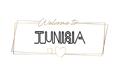 Tunisia Welcome to text Neon lettering typography. Word for logotype, badge, icon, card, postcard, logo, banner with Wired Golden Frames and Hearts Design Vector Illustration.