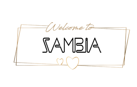 Zambia Welcome to text Neon lettering typography. Word for logotype, badge, icon, card, postcard, logo, banner with Wired Golden Frames and Hearts Design Vector Illustration.