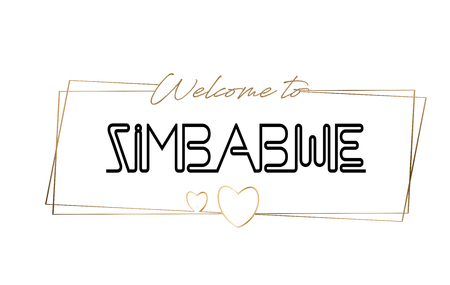 Zimbabwe Welcome to text Neon lettering typography. Word for logotype, badge, icon, card, postcard, logo, banner with Wired Golden Frames and Hearts Design Vector Illustration.