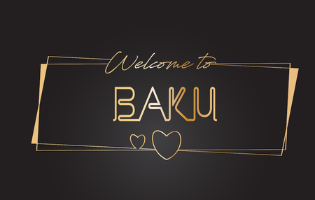 Baku Welcome to Golden text Neon Lettering Typography with Wired Golden Frames and Hearts Design Vector Illustration.