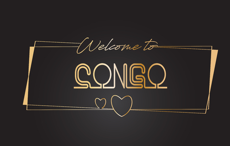Congo Welcome to Golden text Neon Lettering Typography with Wired Golden Frames and Hearts Design Vector Illustration.