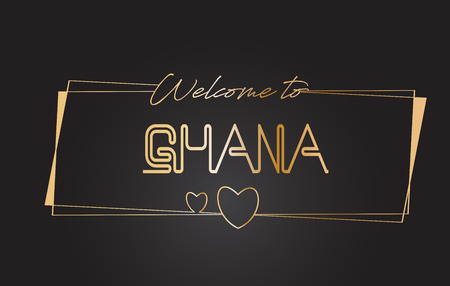 Ghana Welcome to Golden text Neon Lettering Typography with Wired Golden Frames and Hearts Design Vector Illustration.