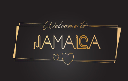 Jamaica Welcome to Golden text Neon Lettering Typography with Wired Golden Frames and Hearts Design Vector Illustration. Illustration