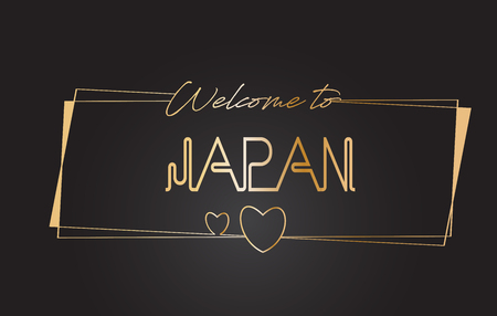 Japan Welcome to Golden text Neon Lettering Typography with Wired Golden Frames and Hearts Design Vector Illustration.