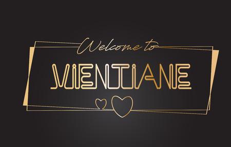 Vientiane Bienvenue dans la typographie de lettrage au néon de texte doré avec des cadres dorés câblés et une illustration vectorielle de conception de coeurs.