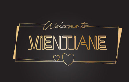 Vientiane Willkommen bei Golden Text Neon Schriftzug Typografie mit Wired Golden Frames und Hearts Design Vector Illustration.