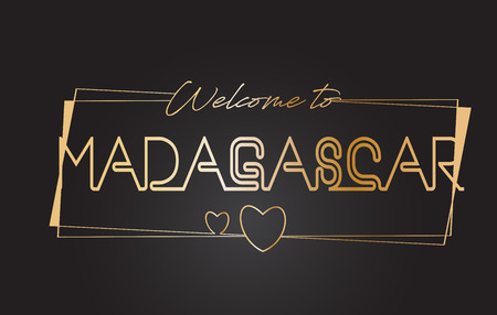 Madagascar Welcome to Golden text Neon Lettering Typography with Wired Golden Frames and Hearts Design Vector Illustration.