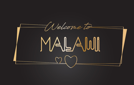 Malawi Welcome to Golden text Neon Lettering Typography with Wired Golden Frames and Hearts Design Vector Illustration.  イラスト・ベクター素材