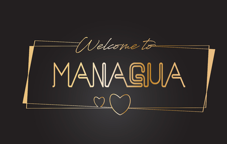 Managua Welcome to Golden text Neon Lettering Typography with Wired Golden Frames and Hearts Design Vector Illustration.