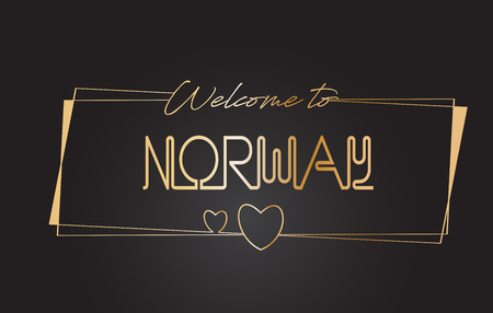 Norway Welcome to Golden text Neon Lettering Typography with Wired Golden Frames and Hearts Design Vector Illustration.