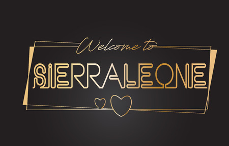 SierraLeone Welcome to Golden text Neon Lettering Typography with Wired Golden Frames and Hearts Design Vector Illustration.