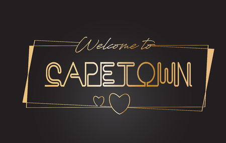 CapeTown Welcome to Golden text Neon Lettering Typography with Wired Golden Frames and Hearts Design Vector Illustration.