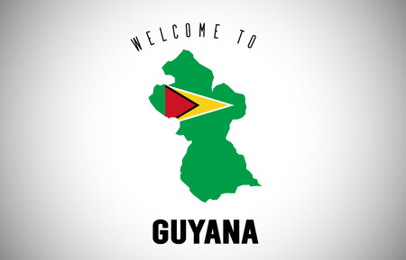 Guyana Welcome to Text and Country flag inside Country Border Map. Uruguay map with national flag Vector Design Illustration. Illusztráció