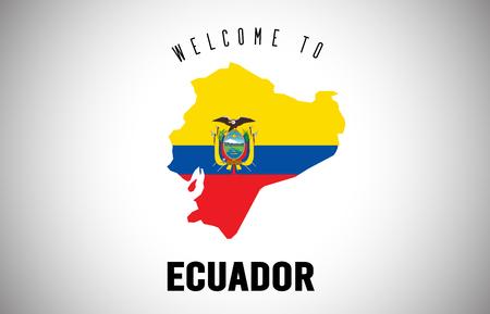 Ecuador Bienvenido al texto y la bandera del país dentro del mapa fronterizo del país. Mapa de Uruguay con bandera nacional ilustración de diseño vectorial. Ilustración de vector