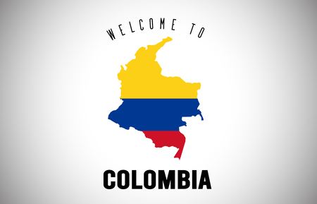 Colombia Welcome to Text and Country flag inside Country Border Map. Uruguay map with national flag Vector Design Illustration.