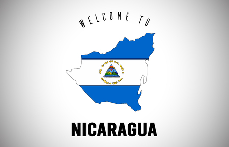 Nicaragua Welcome to Text and Country flag inside Country Border Map. Uruguay map with national flag Vector Design Illustration. Vetores