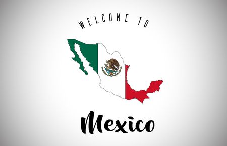 Mexico Welcome to Text and Country flag inside Country Border Map. Uruguay map with national flag Vector Design Illustration.
