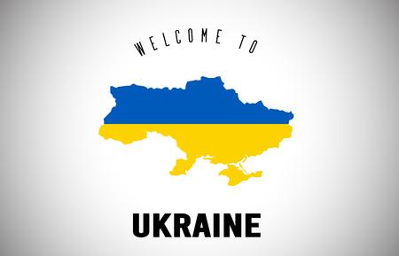Ucrania Bienvenido al texto y la bandera del país dentro del mapa fronterizo del país. Mapa de Uruguay con bandera nacional ilustración de diseño vectorial.
