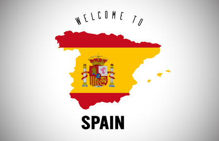 Spain Welcome to Text and Country flag inside Country Border Map. Uruguay map with national flag Vector Design Illustration.