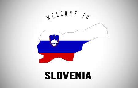 Slovenia Welcome to Text and Country flag inside Country Border Map. Uruguay map with national flag Vector Design Illustration.