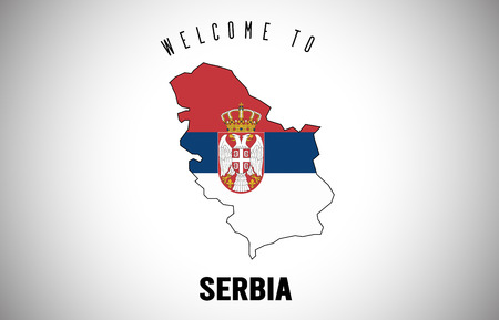 Serbia Welcome to Text and Country flag inside Country Border Map. Uruguay map with national flag Vector Design Illustration.