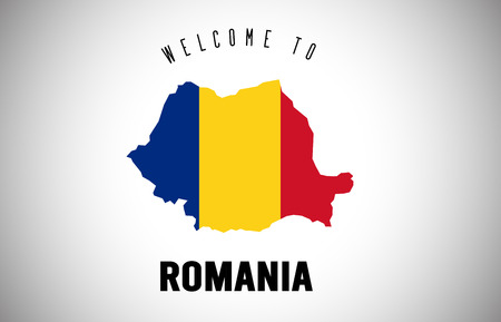 Romania Welcome to Text and Country flag inside Country Border Map. Uruguay map with national flag Vector Design Illustration. Иллюстрация