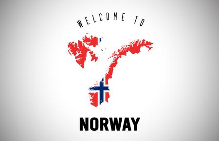 Norwegen Willkommen bei Text und Landesflagge in der Länderkarte. Uruguay-Karte mit Nationalflagge Vector Design Illustration.