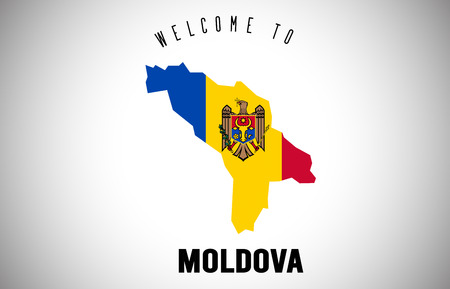 Moldova Welcome to Text and Country flag inside Country Border Map. Uruguay map with national flag Vector Design Illustration.