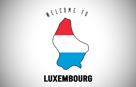 Luxembourg Welcome to Text and Country flag inside Country Border Map. Uruguay map with national flag Vector Design Illustration.