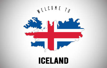 Iceland Welcome to Text and Country flag inside Country Border Map. Uruguay map with national flag Vector Design Illustration. Vektoros illusztráció