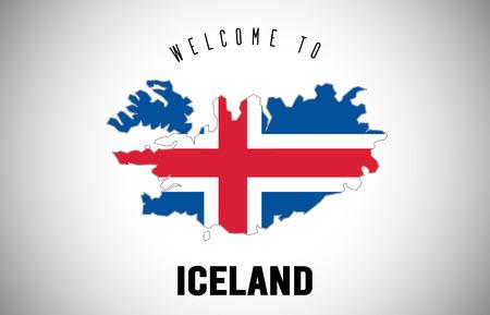 Islanda Benvenuti al testo e alla bandiera del paese all'interno della mappa del confine del paese. Mappa dell'Uruguay con l'illustrazione di progettazione di vettore della bandiera nazionale. Vettoriali