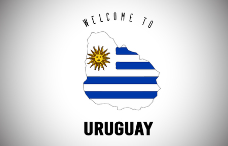 Uruguay Welcome to Text and Country flag inside Country Border Map. Uruguay map with national flag Vector Design Illustration. Illusztráció