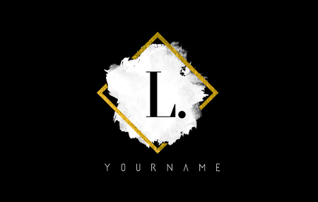 L Letter Logo Design with White ink Stroke over Golden Square Frame. Reklamní fotografie - 121486241