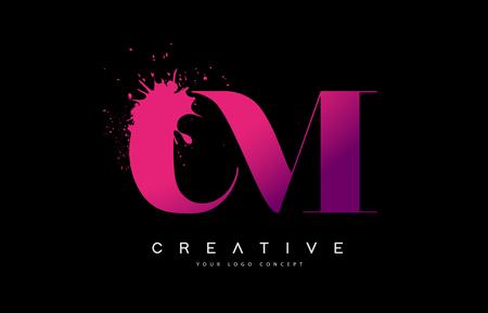 Purple Pink CM C M Letter  Design with Ink  Splash Spill Vector Illustration.