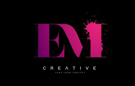 Purple Pink EM E M Letter  Design with Ink  Splash Spill Vector Illustration. Illustration