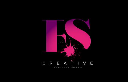 Purple Pink ES E S Letter  Design with Ink  Splash Spill Vector Illustration.