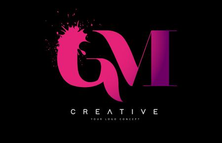 Purple Pink GM G M Letter  Design with Ink  Splash Spill Vector Illustration.